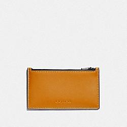 ZIP CARD CASE IN COLORBLOCK - AMBER/BLACK ANTIQUE NICKEL - COACH F79151
