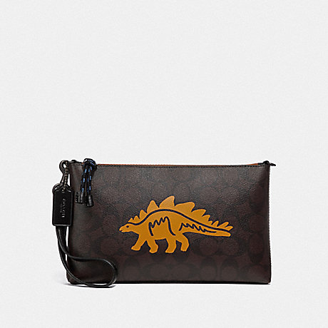 COACH LARGE WRISTLET 25 IN SIGNATURE CANVAS WITH DINOSAUR MOTIF - QB/BROWN BLACK MULTI - F79191