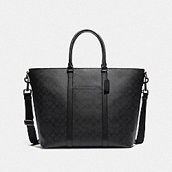 TREKKER TOTE IN SIGNATURE CANVAS - BLACK/BLACK/OXBLOOD/BLACK COPPER FINISH - COACH F79204