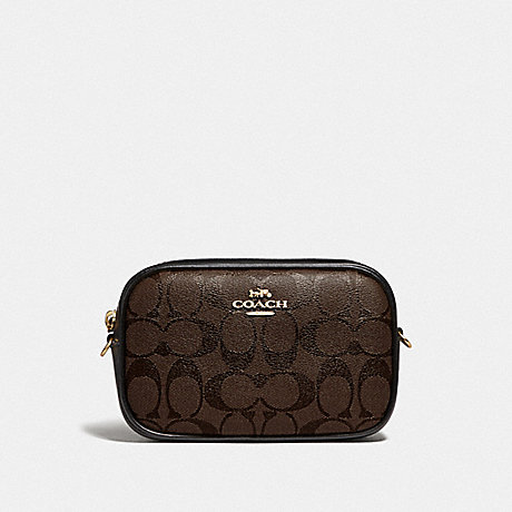 COACH CONVERTIBLE BELT BAG IN SIGNATURE CANVAS - BROWN/BLACK/GOLD - F79209