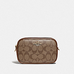 CONVERTIBLE BELT BAG IN SIGNATURE CANVAS - KHAKI/SADDLE 2/GOLD - COACH F79209