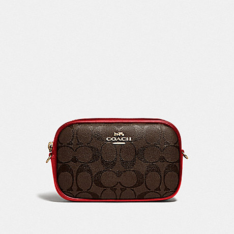 COACH CONVERTIBLE BELT BAG IN SIGNATURE CANVAS - BROWN/TRUE RED/IMITATION GOLD - F79209
