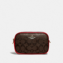 CONVERTIBLE BELT BAG IN SIGNATURE CANVAS - BROWN/TRUE RED/IMITATION GOLD - COACH F79209
