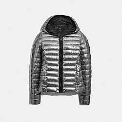 PACKABLE METALLIC DOWN JACKET - SILVER - COACH F79479