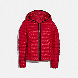 PACKABLE SIGNATURE EMBOSSED DOWN JACKET - CLASSIC RED - COACH F79480