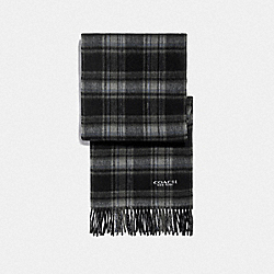 SIGNATURE PLAID SCARF - BLACK GREY - COACH F79671