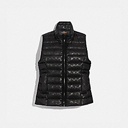 SIGNATURE EMBOSSED SHORT DOWN VEST - BLACK - COACH F79674