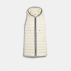 LONG DOWN VEST WITH HOOD - CREAM - COACH F79677