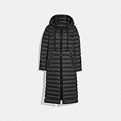 LONG DOWN COAT WITH HOOD - BLACK - COACH F79682