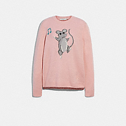 PARTY MOUSE INTARSIA SWEATER - PINK - COACH F79689