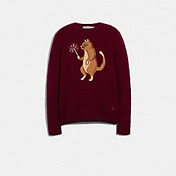 PARTY CAT INTARSIA SWEATER - WINE - COACH F79690