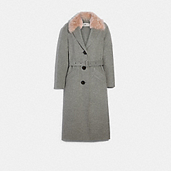 LONG DOUBLE FACE WOOL COAT - GREY - COACH F79693