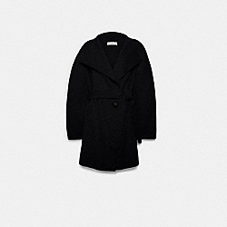 SHORT BELTED DOUBLE FACE WOOL COAT - BLACK - COACH F79696