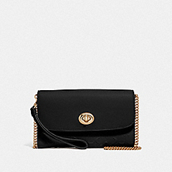 CHAIN CROSSBODY IN SIGNATURE LEATHER - IM/BLACK - COACH F79788