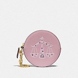 ROUND COIN CASE WITH LIBRA - IM/PINK - COACH F79864