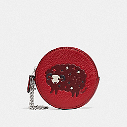 ROUND COIN CASE WITH ARIES - SV/TRUE RED - COACH F79865