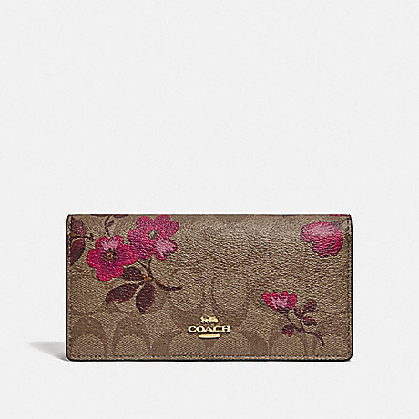 COACH BIFOLD WALLET IN SIGNATURE CANVAS WITH VICTORIAN FLORAL PRINT - IM/KHAKI BERRY MULTI - F79871