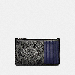 ZIP CARD CASE IN COLORBLOCK SIGNATURE CANVAS - QB/CHARCOAL CADET - COACH F79878
