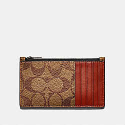 ZIP CARD CASE IN COLORBLOCK SIGNATURE CANVAS - QB/TAN TERRACOTTA - COACH F79878