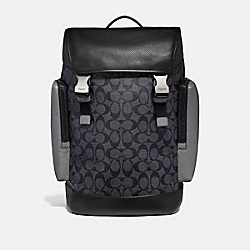 RANGER BACKPACK IN COLORBLOCK SIGNATURE CANVAS - QB/CHARCOAL HEATHER GREY - COACH F79901