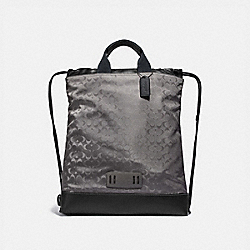 TERRAIN DRAWSTRING BACKPACK IN SIGNATURE JACQUARD - QB/HEATHER GREY - COACH F79909