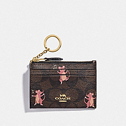 MINI SKINNY ID CASE IN SIGNATURE CANVAS WITH PARTY MOUSE PRINT - IM/BROWN PINK MULTI - COACH F79927