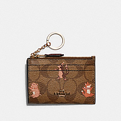 MINI SKINNY ID CASE IN SIGNATURE CANVAS WITH PARTY ANIMALS PRINT - IM/KHAKI PINK MULTI - COACH F79930