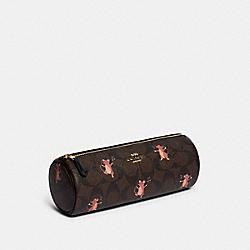 MAKEUP BRUSH HOLDER IN SIGNATURE CANVAS WITH PARTY MOUSE PRINT - IM/BROWN PINK MULTI - COACH F79932