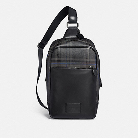 COACH WESTWAY PACK IN SIGNATURE CANVAS WITH PLAID PRINT - QB/BLACK MULTI - F79937