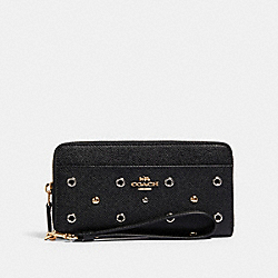 ACCORDION ZIP WALLET WITH GROMMETS - IM/BLACK - COACH F79943