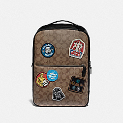 STAR WARS X COACH WESTWAY BACKPACK IN SIGNATURE CANVAS WITH PATCHES - QB/TAN MULTI - COACH F79951