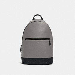 WEST SLIM BACKPACK WITH SIGNATURE LEATHER DETAIL - QB/HEATHER GREY MULTI - COACH F79961