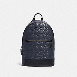 WEST SLIM BACKPACK WITH SIGNATURE QUILTING - QB/MIDNIGHT NAVY - COACH F79962