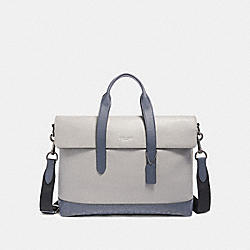 HAMILTON PORTFOLIO BRIEF WITH SIGNATURE LEATHER DETAIL - QB/HEATHER GREY MULTI - COACH F79966