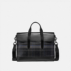 HAMILTON PORTFOLIO BRIEF IN SIGNATURE CANVAS WITH PLAID PRINT - QB/BLACK MULTI - COACH F79972