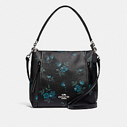 MARLON HOBO WITH VICTORIAN FLORAL PRINT - SV/BLUE BLACK MULTI - COACH F79996