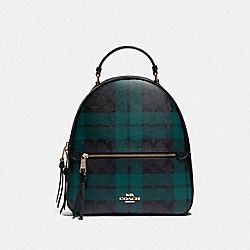 JORDYN BACKPACK IN SIGNATURE CANVAS WITH FIELD PLAID PRINT - IM/BLACK/DEEP OCEAN MULTI - COACH F80056