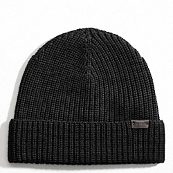 COACH SOLID MERINO KNIT HAT - BLACK - F82717