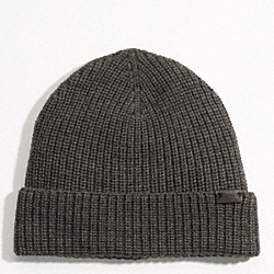 COACH SOLID MERINO KNIT HAT - GRAY - F82717