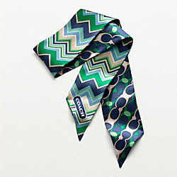 COACH HAMPTONS PATCHWORK PONYTAIL SCARF - NAVY - F82761