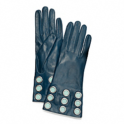 COACH LEATHER GROMMET GLOVE - SILVER/TEAL/POND - F82813
