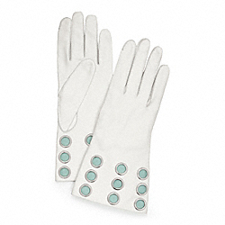 COACH LEATHER GROMMET GLOVE - SILVER/PARCHMENT - F82813