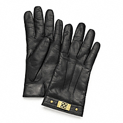 SIGNATURE PLAQUE GLOVE - BRASS/BLACK - COACH F82815