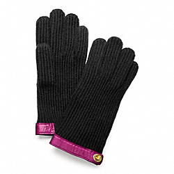 COACH KNIT TURNLOCK GLOVE - BRASS/BLACK - F82823