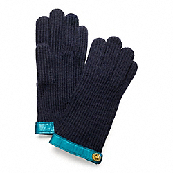 COACH KNIT TURNLOCK GLOVE - NAVY/TURQUOISE - F82823