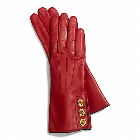 COACH f82825 THREE TURNLOCK GLOVE CHERRY