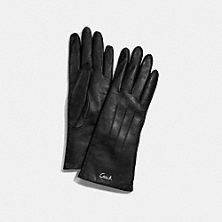 COACH LEATHER CASHMERE LINED GLOVE - SILVER/BLACK - F82835