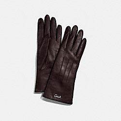 LEATHER CASHMERE LINED GLOVE - SILVER/MAHOGANY - COACH F82835