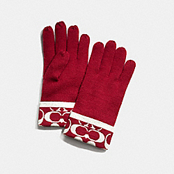 COACH SIGNATURE METALLIC KNIT GLOVE - RED/WHITE - F82839