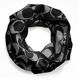 COACH SIGNATURE REVERSIBLE KNIT INFINITY SCARF - BLACK/GRAY - F82847
